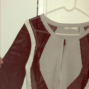 OST black and grey partly meshed zip sweater